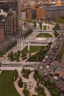 High angle view of a city, Atlantic Avenue Greenway, Boston, Massachusetts, USA by Panoramic Images