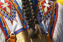 Rear view of braided hair over native american indian ceremonial costume. von Panoramic Images