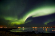Aurora Borealis in the sky, Alftanes, Reykjavik, Iceland by Panoramic Images