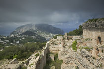 Old ruins of a palace, Villa Jovis, Capri, Naples, Campania, Italy by Panoramic Images