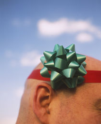 Close-up of a man wearing a ribbon around his head, Germany von Panoramic Images