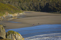 Walkers on Stradbally Strand, the Copper Coast, County Waterford, Ireland von Panoramic Images