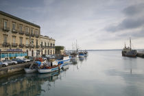 Fishing boats docked at a harbor, Ortygia, Siracusa, Sicily, Italy by Panoramic Images