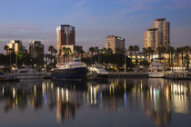 Boats on a marina at dusk by Panoramic Images