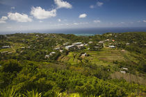 High angle view of a town at the coast, Mont Lubin, Rodrigues, Mauritius by Panoramic Images