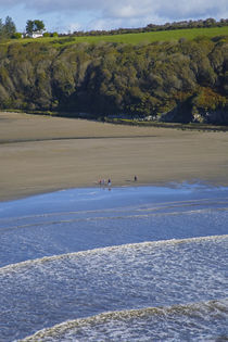 Walkers on Stradbally Strand, the Copper Coast, County Waterford, Ireland by Panoramic Images