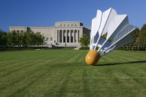 Gaint shuttlecock sculpture in front of a museum by Panoramic Images