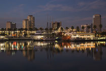 Boats on a marina at dusk von Panoramic Images