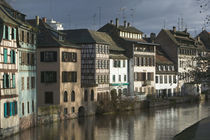 Houses along a river, Ill River, Alsace, Strasbourg, France by Panoramic Images