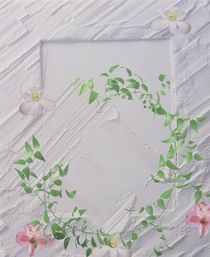 Plaster frame with green vine and white and pink flowers by Panoramic Images