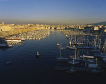 High angle view of boats at an old port, Marseille, France von Panoramic Images