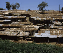 Huts in a shanty town, Kibera, Nairobi, Kenya by Panoramic Images