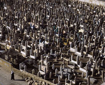 High angle view of tombstones in a graveyard, Syria by Panoramic Images