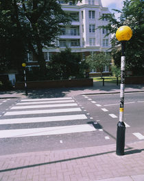 Lamppost at a roadside, Abbey Road, London, England by Panoramic Images