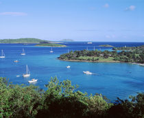 US Virgin Islands, St. John, Caneel Bay, High angle view of boats in the sea by Panoramic Images