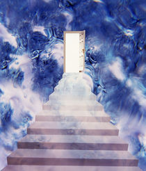 Open door floating in smoky sky with stairway by Panoramic Images