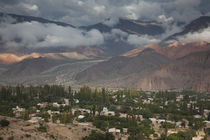 High angle view of a town with a mountain range by Panoramic Images