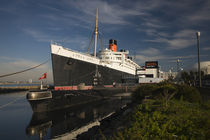 Rms Queen Mary cruise ship and Russian submarine Scorpion at a port by Panoramic Images