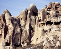 Cliff dwellings, Uchisar Castle, Uchisar, Goreme, Cappadocia, Turkey by Panoramic Images
