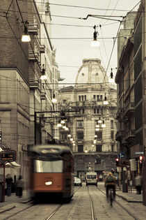 Tram on a street, Piazza Del Duomo, Milan, Lombardy, Italy by Panoramic Images