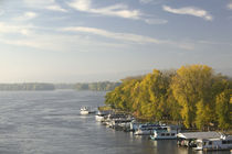 Boats anchored at a port, Mississippi River Valley, La Crosse, Wisconsin, USA by Panoramic Images