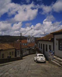 Houses along a cobblestone street, Diamantina, Minas Gerais, Brazil by Panoramic Images