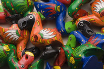 High angle view of wooden Dodo bird toys, Port Louis, Mauritius by Panoramic Images