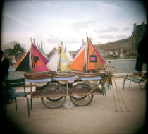 Miniature sailboats on a cart for sale by Panoramic Images