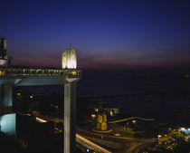 Lacerda elevator lit up at night, Salvador, Bahia, Brazil by Panoramic Images