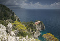 High angle view of a house on a rock, Capri, Bay of Naples, Campania, Italy by Panoramic Images