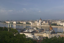 High angle view of a city near a river, Danube River, Budapest, Hungary by Panoramic Images