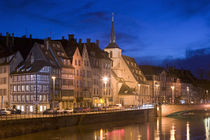 Buildings lit up at dusk, St. Nicholas Church, Alsace, Strasbourg, France von Panoramic Images
