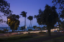 Traffic on a highway at dusk, Le Barachois, St. Denis, Reunion Island by Panoramic Images