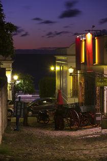Buildings lit up at dusk, Calle De La Playa, Colonia Del Sacramento, Uruguay by Panoramic Images
