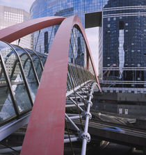Footbridge towards an office building, La Defense, Paris, France by Panoramic Images