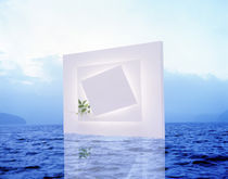 White frame with small vine floating on blue water with reflection by Panoramic Images