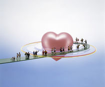 Floating bright pink heart  by Panoramic Images