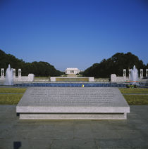 Texts on a memorial plaque, National World War II Memorial, Washington DC, USA by Panoramic Images