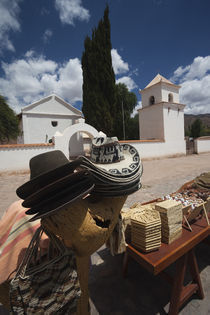 Market stall in front of a church, Uquia, Quebrada De Humahuaca, Argentina by Panoramic Images