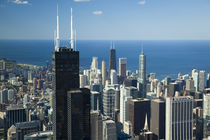 Aerial view of a city, Lake Michigan, Chicago, Cook County, Illinois, USA by Panoramic Images