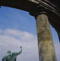 Low angle view of a statue near a column by Panoramic Images