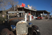 Rusty car at old Route 66 visitor centre, Route 66, Hackberry, Arizona, USA by Panoramic Images