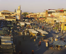High angle view of a group of people in a market, Marrakesh, Morocco von Panoramic Images