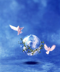 Two doves fly around clear globe hovering in blue space with clouds by Panoramic Images