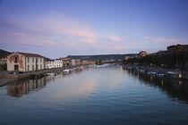 Houses on the riverbank, Sas Conzas, Temo River, Bosa, Oristano, Sardinia, Italy von Panoramic Images