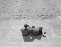 High angle view of a senior couple sitting on steps von Panoramic Images