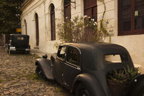 Vintage cars parked in front of a house by Panoramic Images