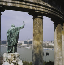 Statue near columns, Statue of Bishop Gellert, Gellert Hill, Budapest, Hungary by Panoramic Images