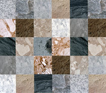 Wall of horizontals like quilt in various colored marble by Panoramic Images