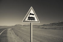 Railroad crossing sign at the roadside by Panoramic Images